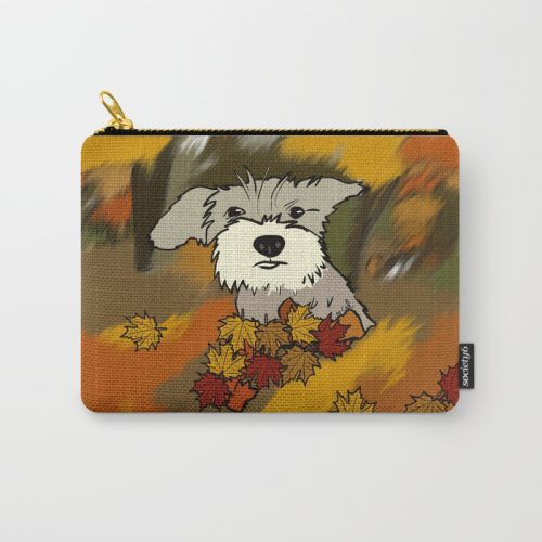 Buck The Schnauzer In Fall Leaves Carry All Pouch