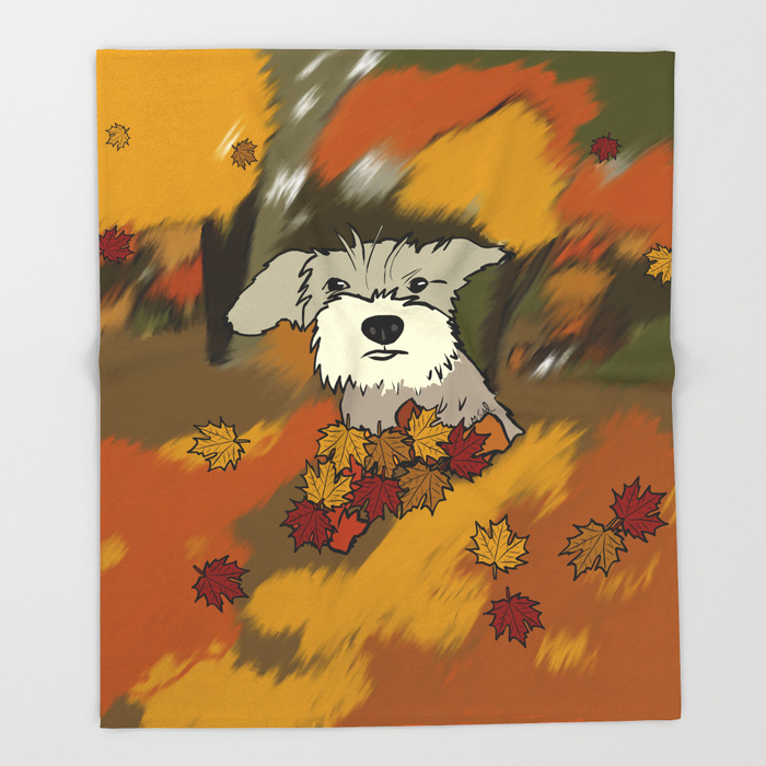 Buck The Schnauzer In Fall Leaves Thrrow Blanket