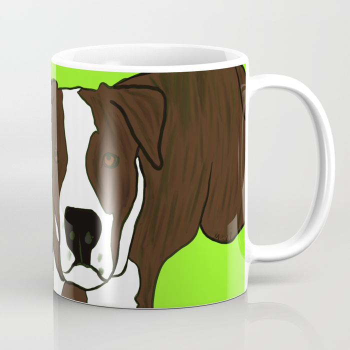 Chico The Brindled Pit Bull Coffee Mug by Mel's Doodle Designs