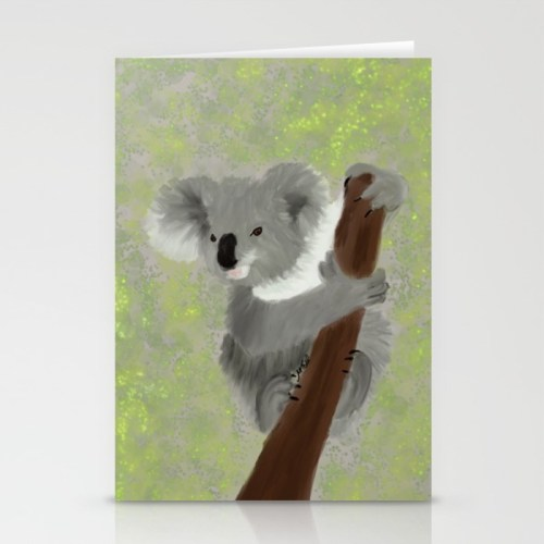 Koala Bear Hanging In There Greeting Cards  by Mel's Doodle Designs