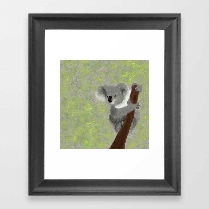 Koala Bear Hanging In There Framed Art Print by Mel's Doodle Designs