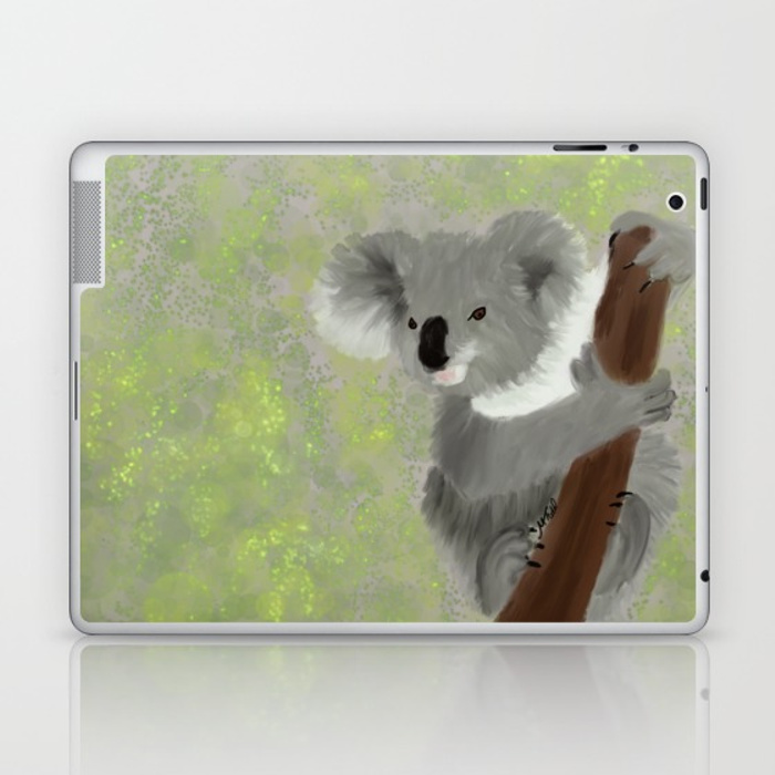 Koala Bear Hanging In There Laptop Skin by Mel's Doodle Designs
