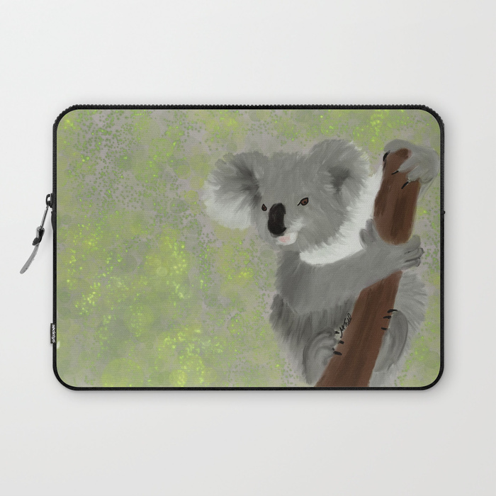 Koala Bear Hanging In There Laptop Sleeve by Mel's Doodle Designs