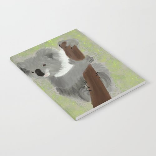 Koala Bear Hanging In There Notebook  by Mel's Doodle Designs
