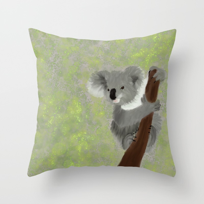 Koala Bear Hanging In There Throw Pillow by Mel's Doodle Designs