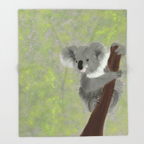 Koala Bear Hanging In There Throw Blanket by Mel's Doodle Designs