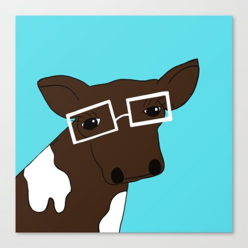 Matilda the Hipster Cow by Melinda Todd Canvas Print