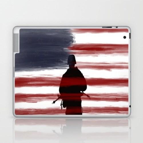 Soldier and Flag - Patriotic Laptop Skin by Mel's Doodle Designs