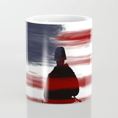 Soldier and Flag - Patriotic Coffee Mug by Mel's Doodle Designs