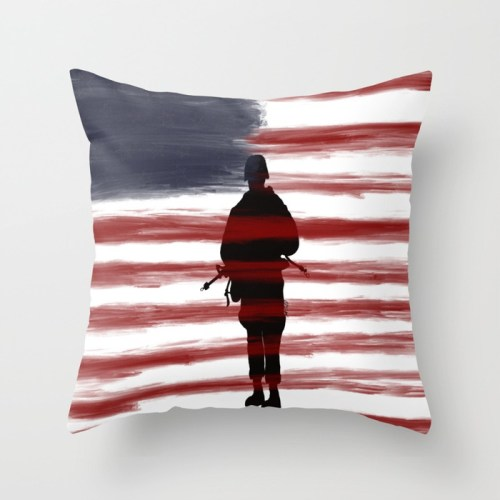 Soldier and Flag - Patriotic Throw Pillow  by Mel's Doodle Designs