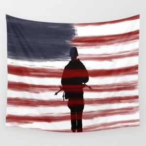 Soldier and Flag - Patriotic Wall Tapestry by Mel's Doodle Designs