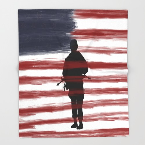 Soldier and Flag - Patriotic Throw Blanket by Mel's Doodle Designs