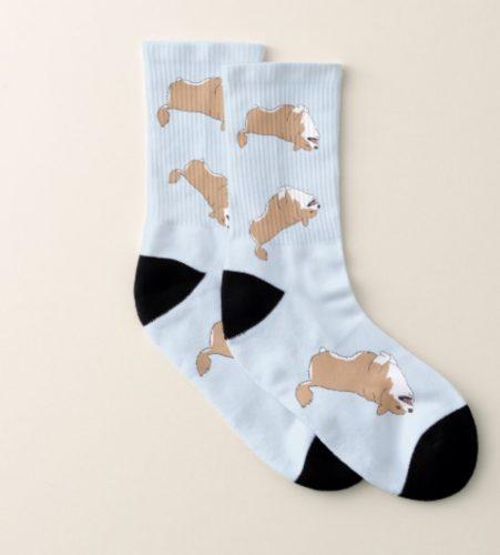 Corgi Rocking and Rolling socks by Mel's Doodle Designs