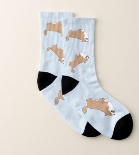 Corgi Rocking and Rolling socks by Mel's Doodle Designs
