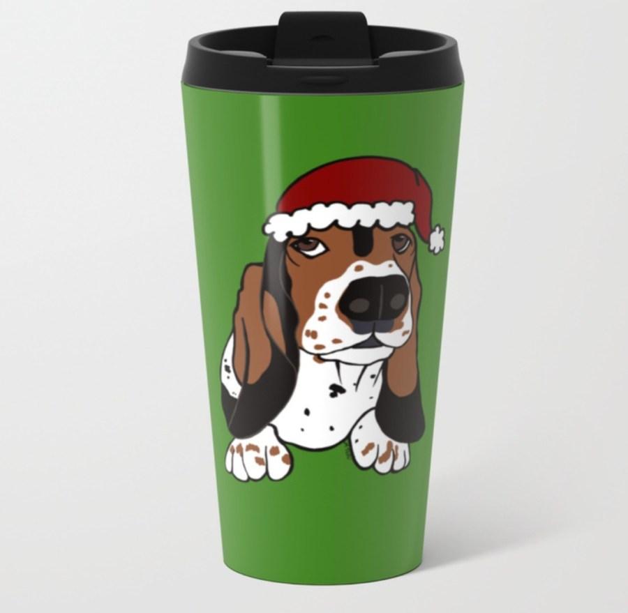 A Basset Full of Christmas Travel Mug by Mel's Doodle Designs