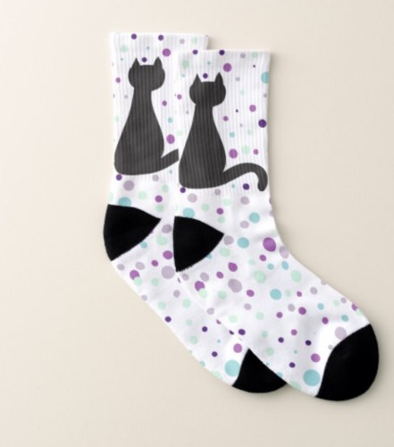 Black Cat Polka Dot Party Socks by Mel's Doodle Designs