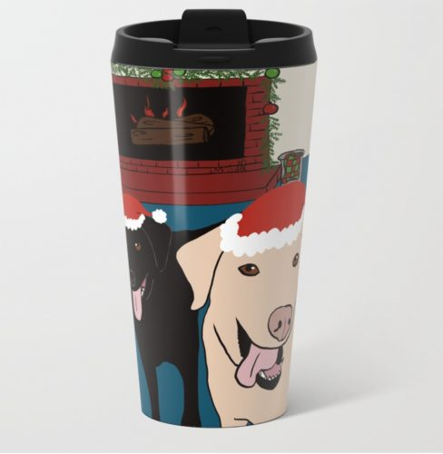 Labs Love Christmas Travel Mug by Mel's Doodle Designs
