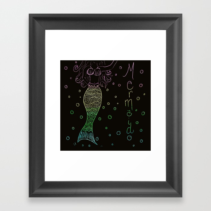 Mermaid In The Dark Framed Art Print by Mel's Doodle Designs