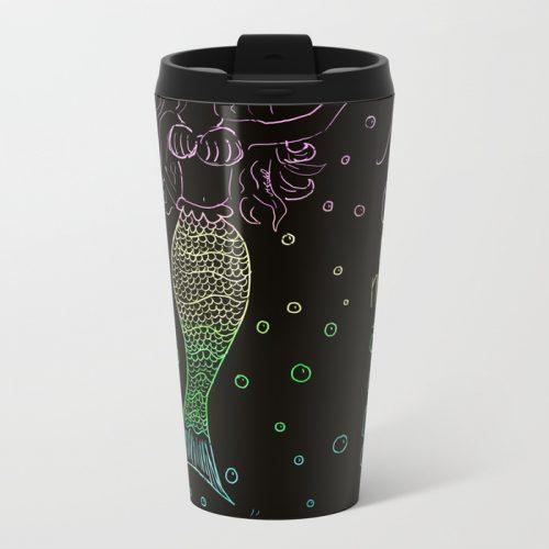 Mermaid In The Dark Travel Mug by Mel's Doodle Designs