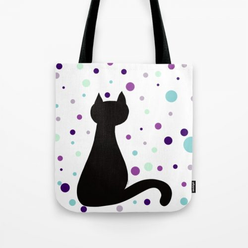 Black Cat Party Tote Bag  by Mel's Doodle Designs