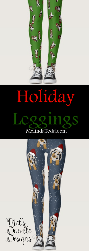 holiday leggings by mel's doodle designs
