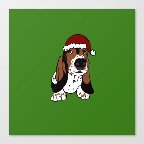 A Basset Full of Christmas Canvas Art Print by Mel's Doodle Designs