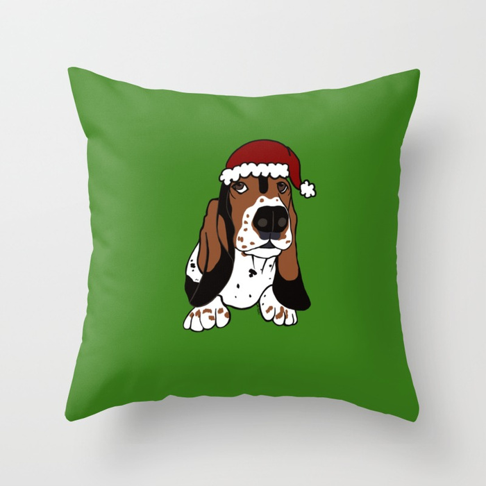 A Basset Full of Christmas Throw Pillow by Mel's Doodle Designs