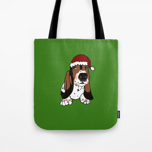 A Basset Full of Christmas Tote Bag by Mel's Doodle Designs