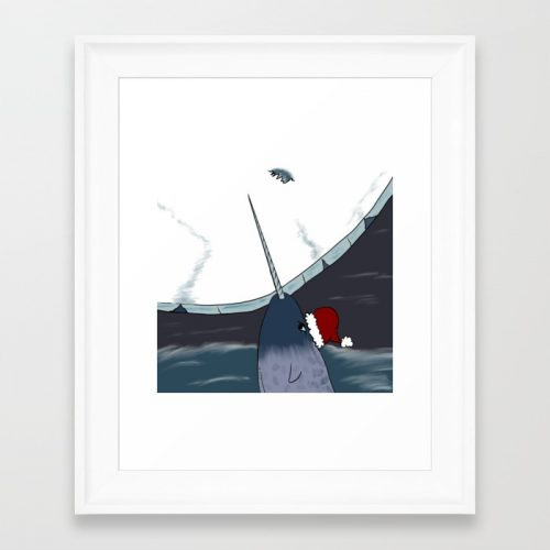 A Narwhal Christmas Framed Art Print by Mel's Doodle Designs