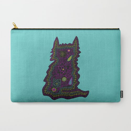 Black Cat With Roses Carry All Pouch by Mel's Doodle Designs