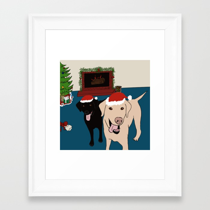 Labs Love Christmas Framed Art Print by Mel's Doodle Designs