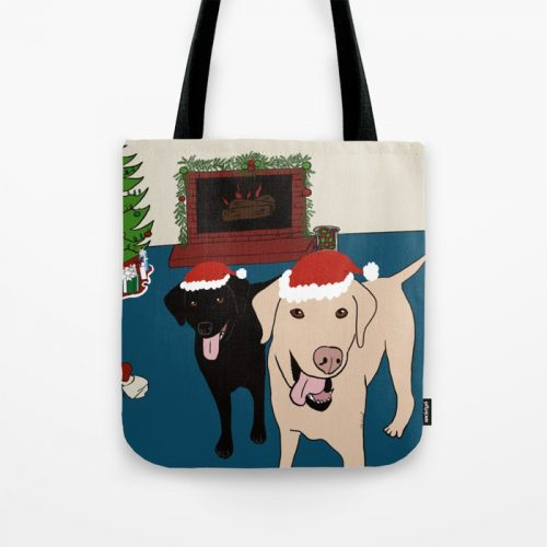 Labs Love Christmas Tote Bag by Mel's Doodle Designs