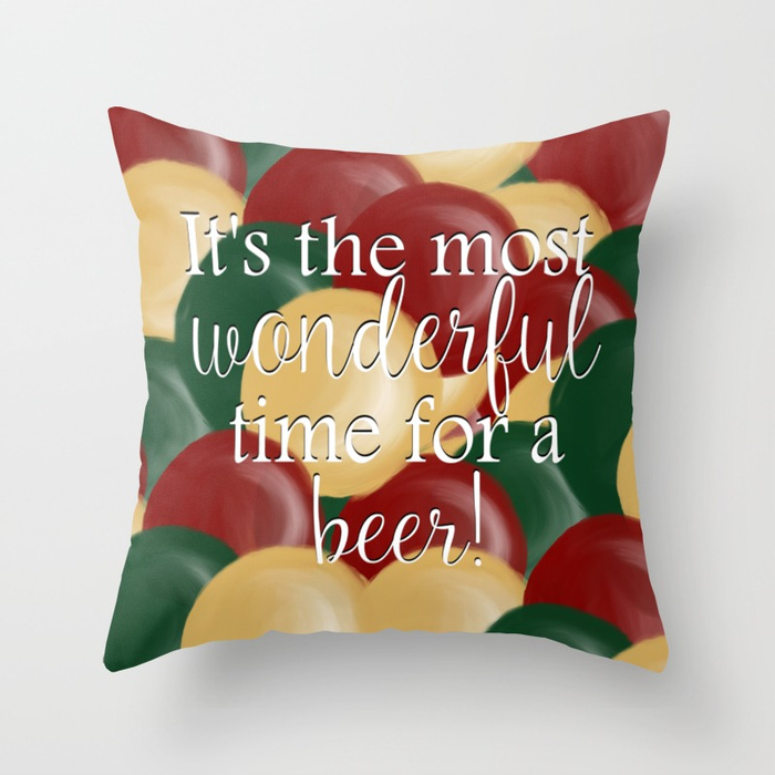 The Most Wonderful Time For A Beer Throw Pillow by Mel's Doodle Designs
