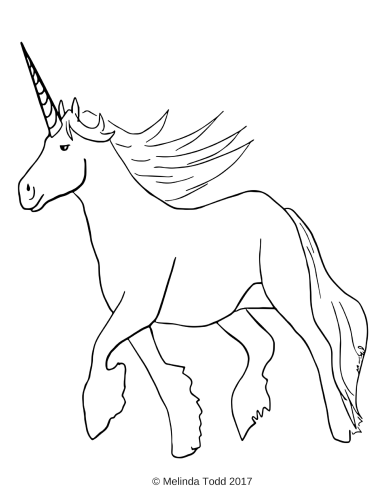 Free Unicorn Coloring Page by Mel's Doodle Designs