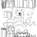 Christmas Puppy Free Coloring Page by Mel's Doodle Designs