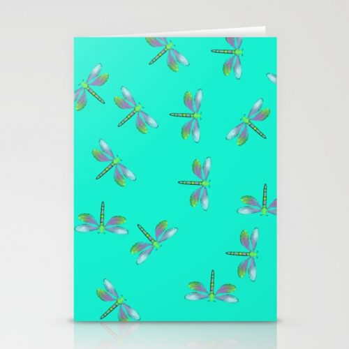 Adaptable Dragonflies in Aqua Greeting Cards by Mel's Doodle Designs
