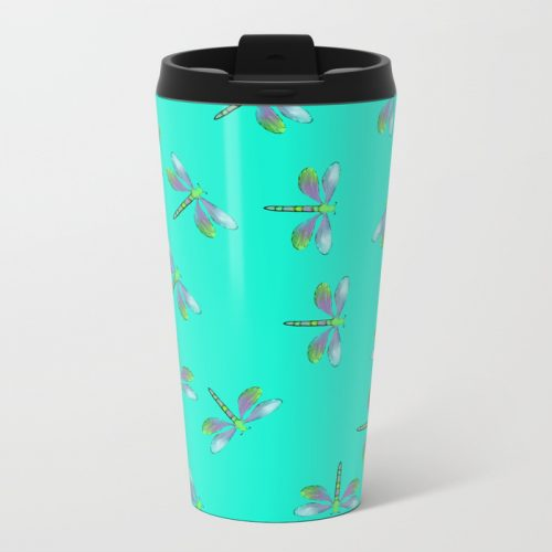 Adaptable Dragonflies in Aqua Metal Travel Mug by Mel's Doodle Designs