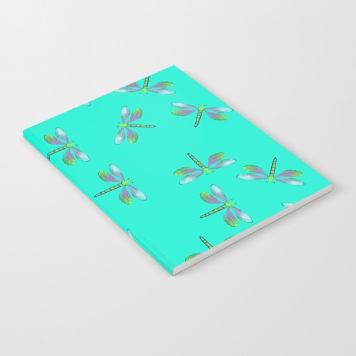 Adaptable Dragonflies in Aqua Notebook by Mel's Doodle Designs