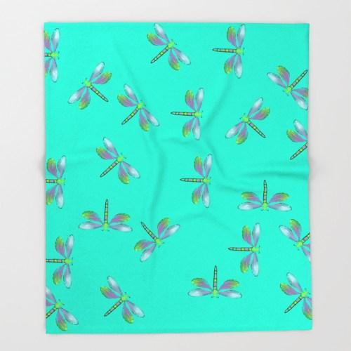 Adaptable Dragonflies in Aqua Throw Blanket by Mel's Doodle Designs