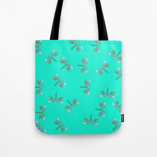 Adaptable Dragonflies in Aqua Tote Bag by Mel's Doodle Designs