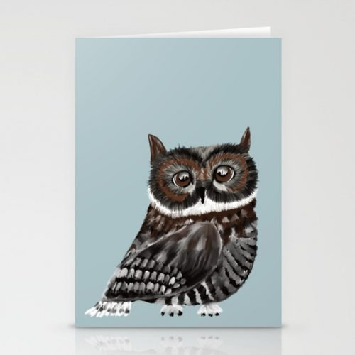 Adorable Owl In Blue Canvas Greeting Cards by Mel's Doodle Designs