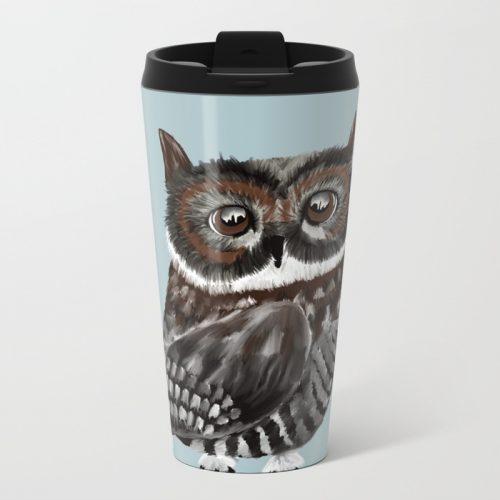 Adorable Owl In Blue Metal Travel Mug by Mel's Doodle Designs