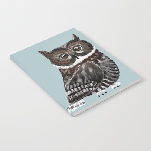 Adorable Owl In Blue Notebook by Mel's Doodle Designs