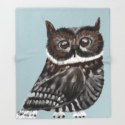 Adorable Owl In Blue Throw Blanket by Mel's Doodle Designs
