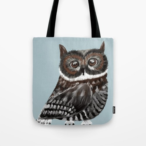 Adorable Owl In Blue Tote Bag by Mel's Doodle Designs