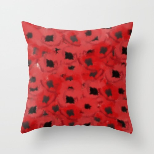 Field of Poppies In Summer Throw Pillow by Mel's Doodle Designs