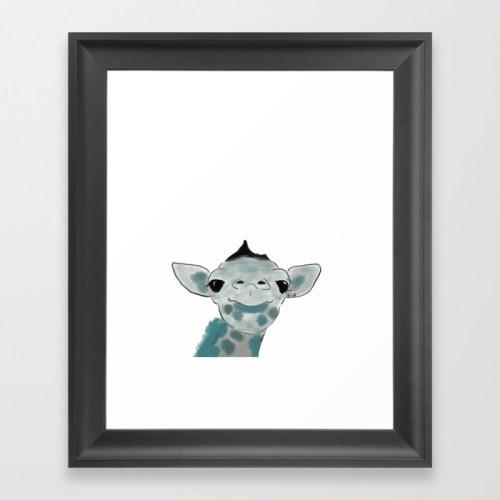 Happy Baby Giraffe Framed Art Print by Mel's Doodle Designs