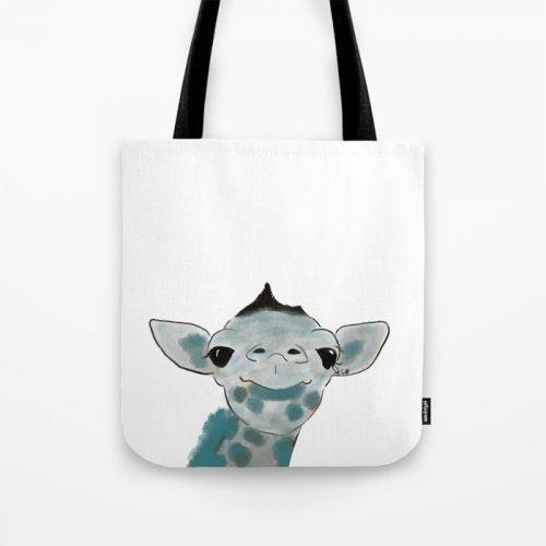 Happy Baby Giraffe Tote Bag by Mel's Doodle Designs