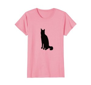 Tabby Cat Silhouette T-shirt by Mel's Doodle Designs