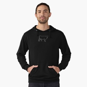 White Cow Silhouette Hoodie by Mel's Doodle Designs
